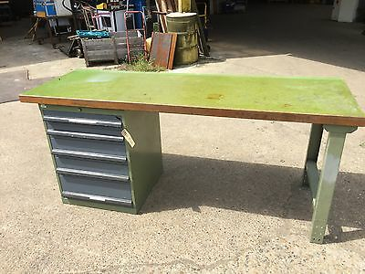 Workbench With Wooden Top And Steel Legs, Set Of 5 Drawers Underneath