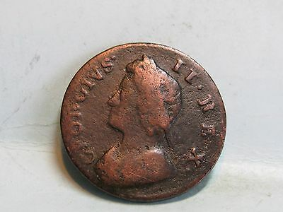 George Ii Copper Farthing Coin Dated 1735