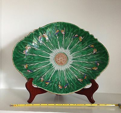"RARE Old 15"" Vintage Green Chinese Cabbage Leaf Porcelain Bowl Dish ~Marked"