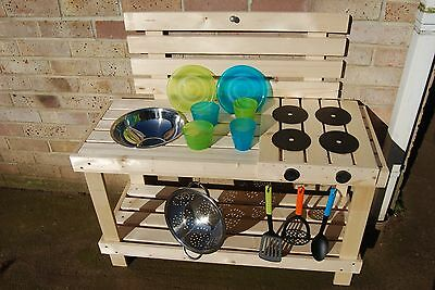 Mud kitchen for outdoor play. with cooker