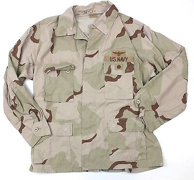 """No5 US ARMY / NAVY SHIRT / JACKET IN DESERT CAMO + BADGES 52"""" CHEST"""