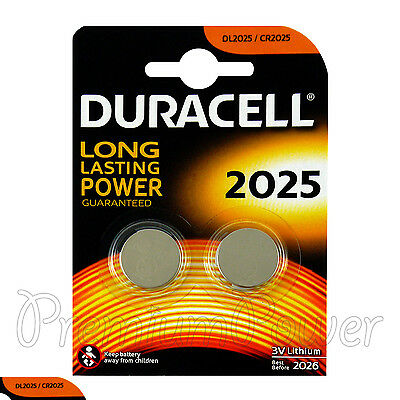 2 x Duracell CR2025 batteries Lithium Coin Cell DL2025 3V Watch Alarm Pack of  2