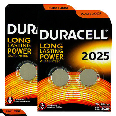 4 x Duracell CR2025 batteries Lithium Coin Cell DL2025 3V Watch Alarm Pack of  2