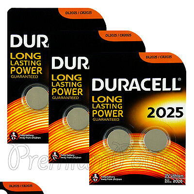 6 x Duracell CR2025 batteries Lithium Coin Cell DL2025 3V Watch Alarm Pack of  2
