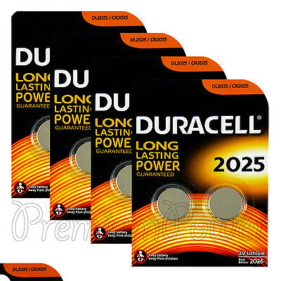 8 x Duracell CR2025 batteries Lithium Coin Cell DL2025 3V Watch Alarm Pack of  2