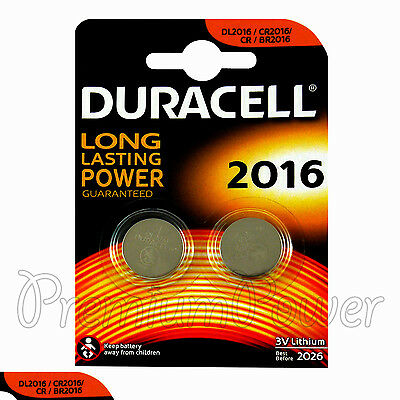 2 x Duracell CR2016 batteries Lithium Coin Cell DL2016 CR BR2016 3V Pack of 2
