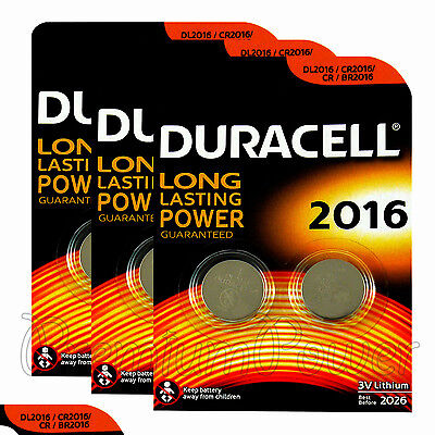 6 x Duracell CR2016 batteries Lithium Coin Cell DL2016 CR BR2016 3V Pack of 2