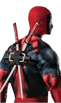 Boys Mens Marvel Deadpool Fancy Dress Costume Backpack Ninja Sword Weapon Kit