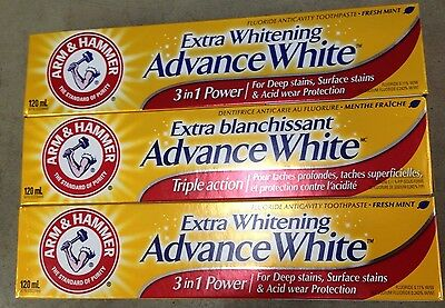 Arm & Hammer Extra Whitening Toothpaste Triple Action 3 packs X 120 ml Canadian!