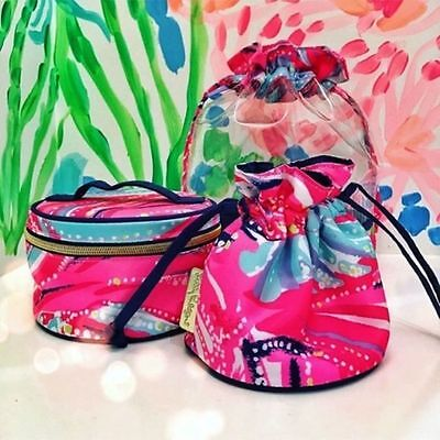 Lilly Pulitzer NWT Trio Set Dragonfruit Oh My Guava Travel Jewelry/Organizer Set