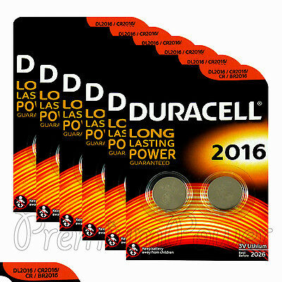 12 x Duracell CR2016 batteries Lithium Coin Cell DL2016 CR BR2016 3V Pack of 2