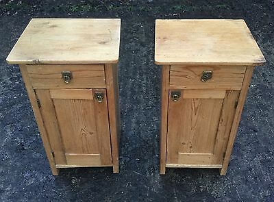 Antique Pair Of Pine Bedside Cabinets/pot Cupboard