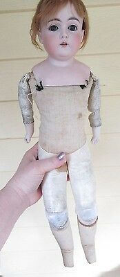"18""Antique bisque shoulder head leather body German Kestner Doll Mold 148 7 1/2"