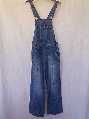 R233 Womens George Blue Bib Festival Overalls Dungarees Uk 8 Small S W26 L30