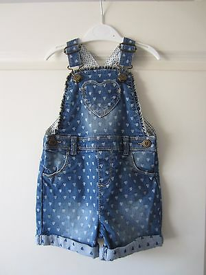 Baby Girls Heart Dungaree Shorts – Age 12-18 Months