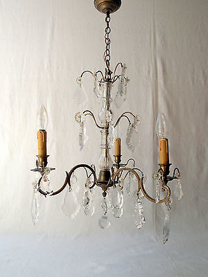 Antique Early 20thC French Crystal & Bronze 3-Arm 3-tier Glass Stem Chandelier