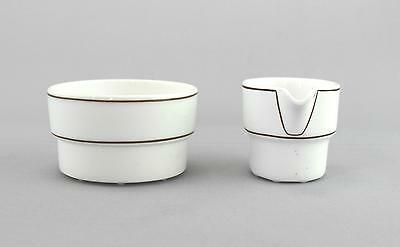 A Gustavsberg milk jug & sugar bowl Modernist Scandinavian pottery