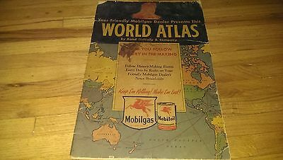 Vintage 1942 Mobilgas Rand McNally World Atlas Map Book Dealer Advertising
