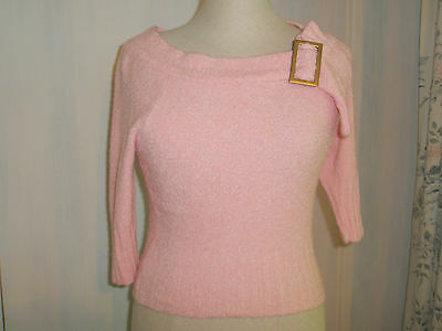 1950S Jumper Top Rock And Roll Rockabilly Baby Pink