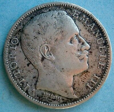Italy 1905 R Silver 2 Lira Coin in very nice condition