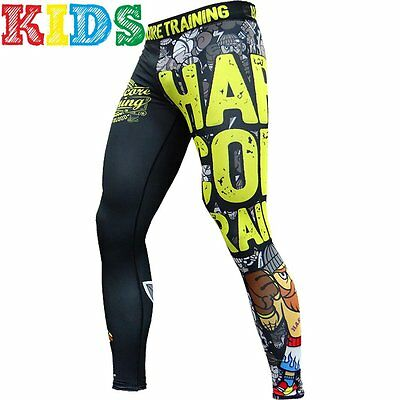 Kids Compression Pants Hardcore Training Doodles Spats Child MMA BJJ Fitness