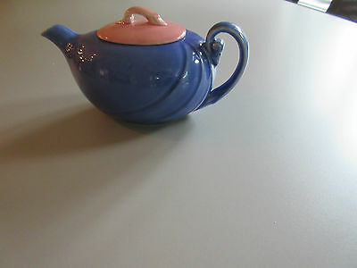Handmade Blue Ceramic Teapot with Pink Lid Swirl design 20 ounces