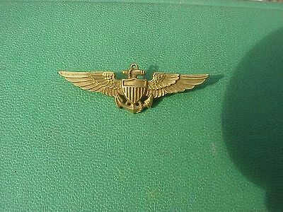 """Original Scarce Wwii Naval Aviator Wings - Solid 10K Gold - 2"""" Shirt Size - H&h"""