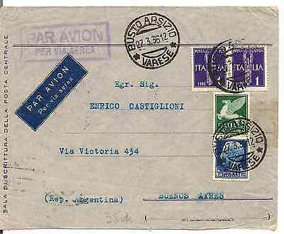 Italy-1936 Nice Cover To Buenos Aires-Posta Aerea