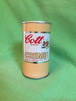 Vintage Cott Quality Creme soda can tin w/sealed ring top 1960's 12oz RARE find!
