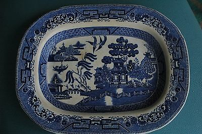 "Ridgway Blue Willow 11 3/4"" Platter Engraved 1832"