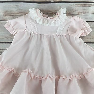 Vintage Roanna Girls Dress 18 Months Pink Smocked White Lace Trim