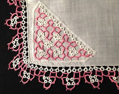 """Old Vintage  Gorgeous  Richly Tatting Lace Decorated Handkerchief, 14"""" x 14"""","""
