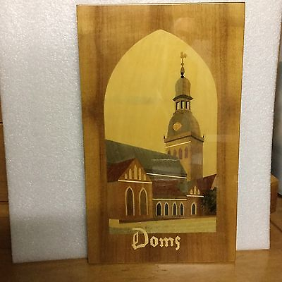 Timber Inlaid Picture. Marquetry. Dom