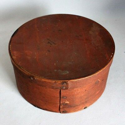 """8"""" Antique Primitive ROUND WOODEN PANTRY BOX Old Red Paint FOLK ART Wood AAFA"""
