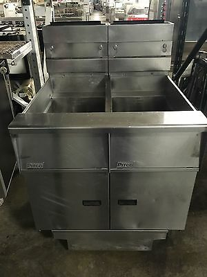 PITCO SG14-JS Double Natural Gas Deep Fryer w/ Filtration WORKS GREAT!