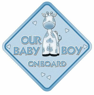 Our Baby Boy On Board Non Personalised Car Sign Baby Giraffe Child Kids Safety