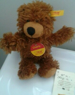 STEIFF Charly Bear 012846 card & fabric tag and original button in ear approx 7""