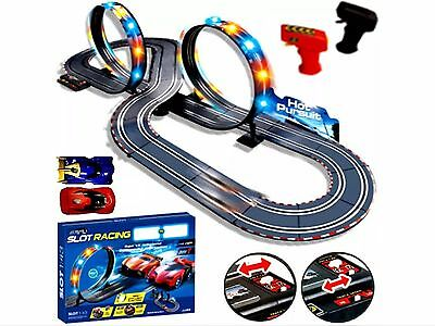 Kids Racing Track Large Remote Control Light Up Slot Car Racing track Kids Toy
