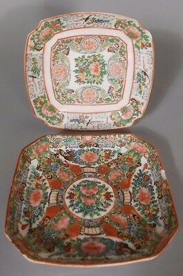 Fine Old Lot of 2 Chinese Rose Medallion Porcelain Plate's ca early 20th century