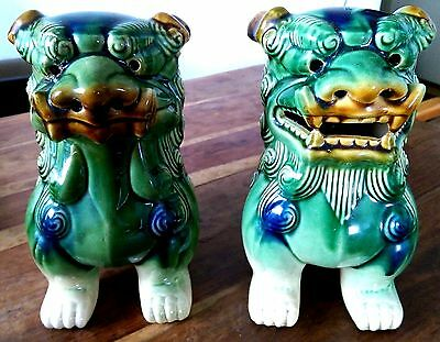 Pair of large vintage Chinese glazed porcelain Foo dogs