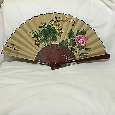 Vintage Hand Painted Floral Butterflies Oriental Calligraphy Brown Lacquered Fan