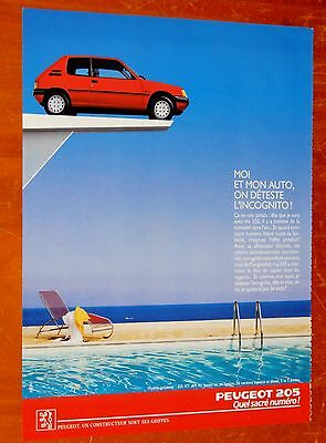 Beautiful 1990 Peugeot 205 Coupe On Diving Board French Ad - Vintage 90S Retro