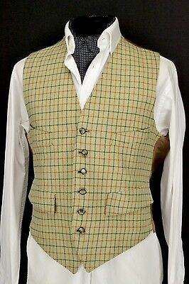 "Size 40"" Country Check Dunn & Co Doeskin Waistcoat Wool Front Waistcoat 1950s"