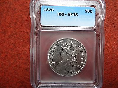 1826 Capped Bust Half Dollar  (ICG EF45) 90% Silver US Coin