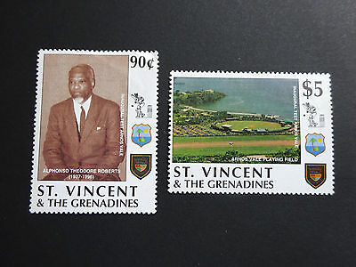 St. Vincent. 1997 - Inaugural Cricket Test Match at Arnos Vale. SG3732-33 -MNH.