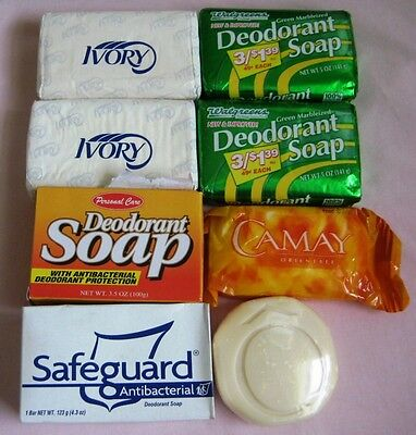 Lot of 8 Vintage soap bars wrapped Assorted Brands, Lancome,Ivory,Camay,Safegard