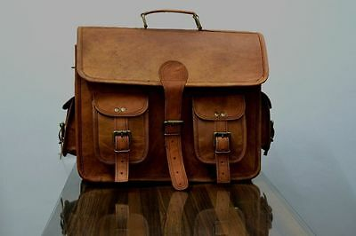 New 2 Side  Brown Leather Motorcycle Side Pouch Saddlebags Saddle Panniers