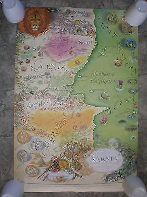 VTG 1972 Map Of Narnia And Surrounding Countries ~ Pauline Baynes C.S. Lewis NOS