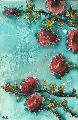 "°♡Original Aquarell, Watercolor,Flowers,Sommer""Rosen .bei Nacht♡"