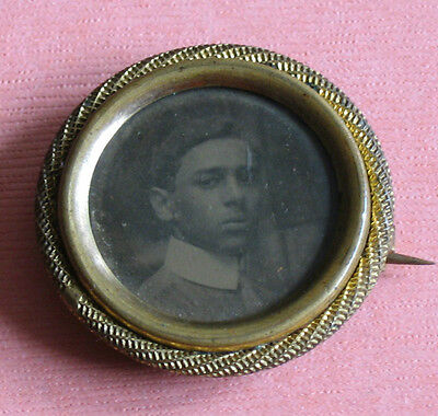 Mourning Photo Pin Brooch Tin Type Portrait Handsome Man 31mm Metal Frame